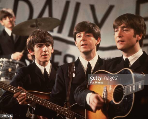 A group shot of the Beatles Ringo Starr George Harrison Paul McCartney and John Lennon pictured during a performance on Granada TV's Late Scene Extra...