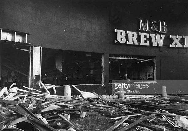 Wreckage and debris litter the street outside the 'Mulberry Bush' public house in Birmingham after it was bombed by the Provisional IRA