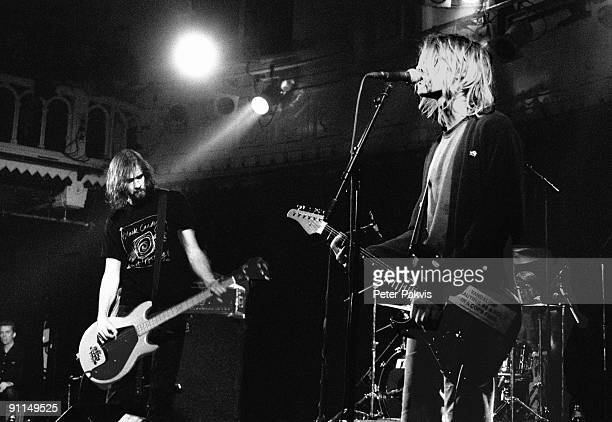 25th NOVEMBER: Bassist Krist Novoselic and guitarist Kurt Cobain from American rock band Nirvana perform live on stage at Paradiso in Amsterdam,...