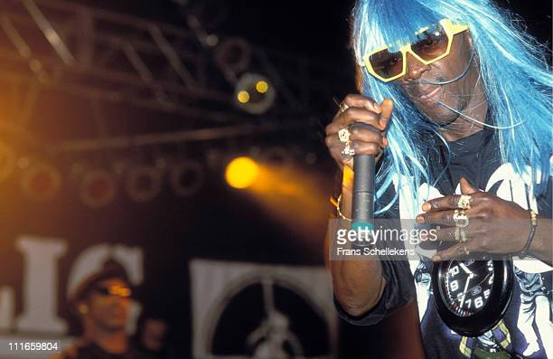 25th NOVEMBER: Flavor Flav from Public Enemy performs live on stage at Sporthal Zuid in Amsterdam, Netherlands on 25th November 1994.