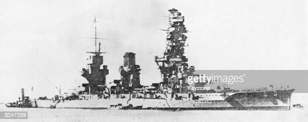 The 29000 ton Fuso class Japanese warship Yamashiro which was sunk near the Philippines by the US Navy during the Battle of Surigao Strait