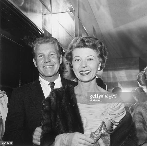 EXCLUSIVE Married American actors Ozzie Nelson and Harriet Hilliard of the television sitcom 'Ozzie and Harriet' attend a Chrysler party in Hollywood...