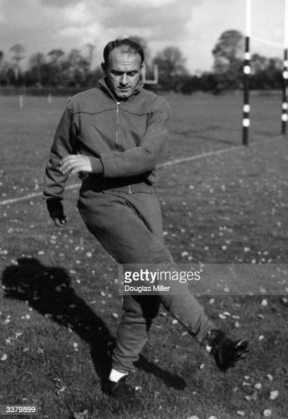 Argentinian born Spanish footballer Alfredo Di Stefano who was the top scorer in the Spanish league five times between 1954 and 1960 training before...