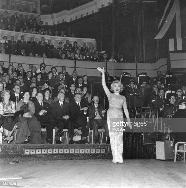 Germanborn American actress and singer Marlene Dietrich on stage at the Royal Albert Hall London to sing at the Alamein Reunion