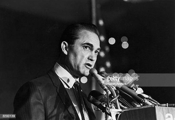 Alabama Governor George Wallace makes a speech at a fundraising dinner held at the American Hotel New York City