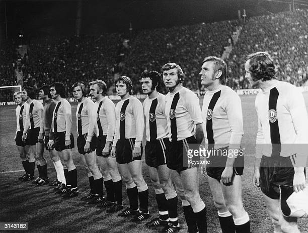 The East German team of Dynamo Dresden line up to play FC Bayern in the Europe Cup Final at Munich's Olympic Stadium
