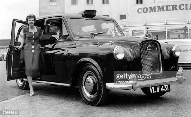 25th September 1958 London England A new London Taxi at the 1958 Commercial Motor Show at Earls Court