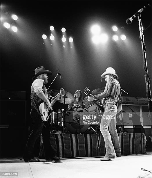 Dusty Hill Frank Beard and Billy Gibbons from ZZ Top perform live onstage in Waterbury Connecticut on the 'Texas World Tour' on 25th September 1975