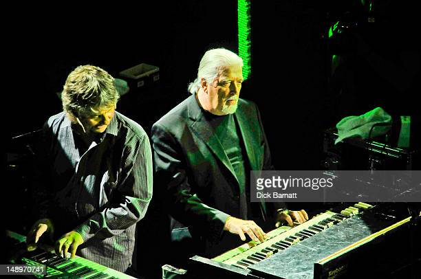 English keyboard player Jon Lord ex Deep Purple performs live on stage with Don Airey from Deep Purple at the Sunflower Jam in Porchester Hall London...