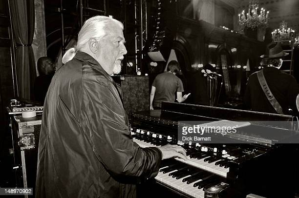 English keyboard player Jon Lord ex Deep Purple performs live on stage at the Sunflower Jam in Porchester Hall London on 25th September 2008