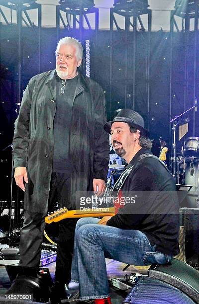 English keyboard player Jon Lord ex Deep Purple poses with guitarist Micky Moody on right at the Sunflower Jam in Porchester Hall London on 25th...