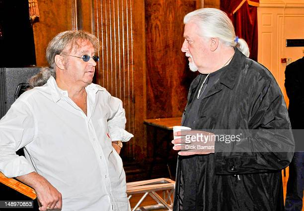 English keyboard player Jon Lord ex Deep Purple talks with drummer Ian Paice from Deep Purple at the Sunflower Jam in Porchester Hall London on 25th...