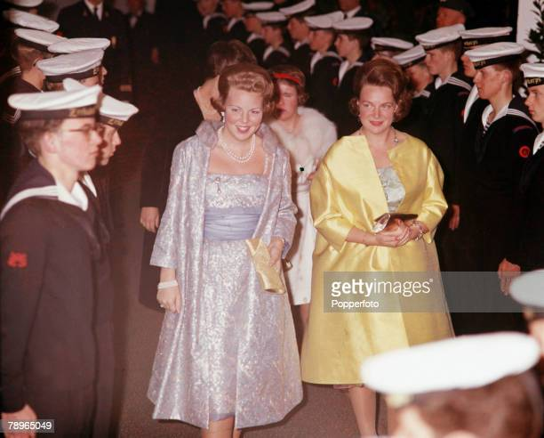 1962 25th Wedding Anniversary of Queen Juliana and Prince Bernhard of Holland Dutch Princesses Beatrix and Irene come aboard the Oranje