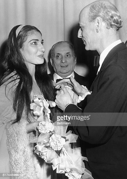 2/6/1958New York NY Opera star Maria Meneghini Callas her husband Giovanni Battista Meneghini and Rudolph Bing are shown in Callas' dressing room...