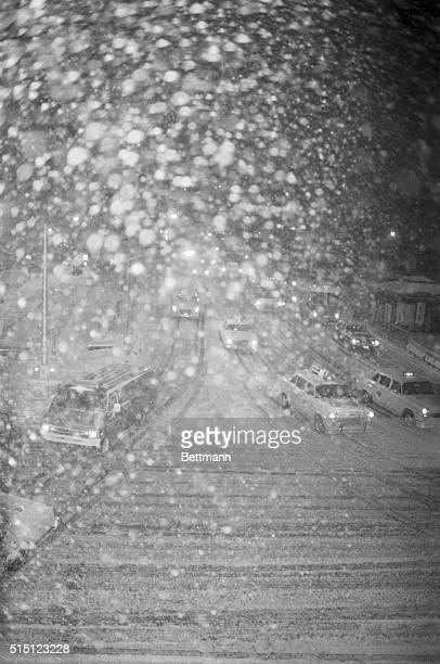 2/6/1978New York New York Vehicular traffic inches its way through the blinding snow squall as blizzard conditions were predicted for the...