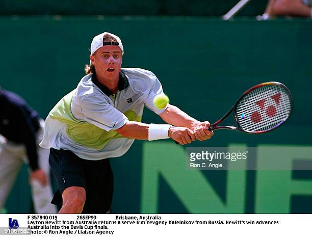 F 357840 015 26Sep99 Brisbane Australia Layton Hewitt From Australia Returns A Serve Frm Yevgeny Kafelnikov From Russia Hewitt's Win Advances...