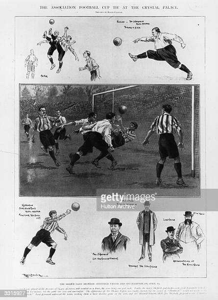 Scenes from the 1902 FA Cup final between Sheffield United and Southampton at Crystal Palace After a 11 draw United won the replay 21