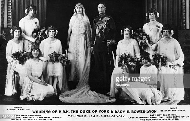 The wedding of the Duke of York, to Lady Elizabeth Bowes Lyon. The attendents are from left to right: Lady Mary Cambridge,The Hon Diamond Hardinge,...