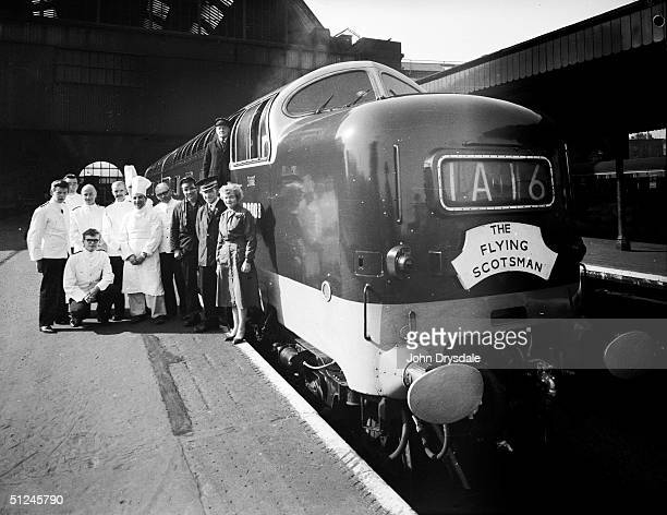 26th April 1962, The Flying Scotsman and members of its crew at King's Cross Station, London, before travelling to Edinburgh to mark the centenary of...