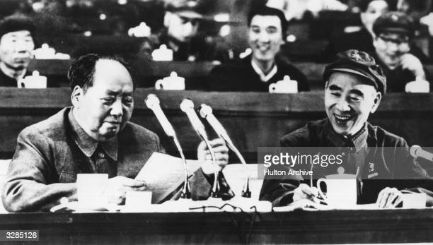 Portrait of the Chinese Communist statesman Mao Tsetung speaking during the 9th National Congress of the Communist Party held in Peking