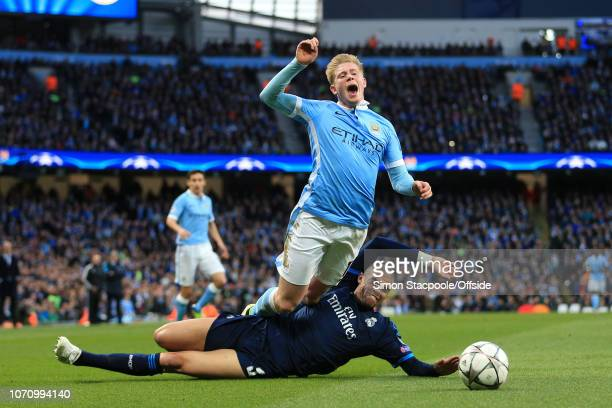 26th April 2016 - UEFA Champions League - Semi-Final - Manchester City v Real Madrid - Pepe of Real fouls Kevin De Bruyne of Man City - .