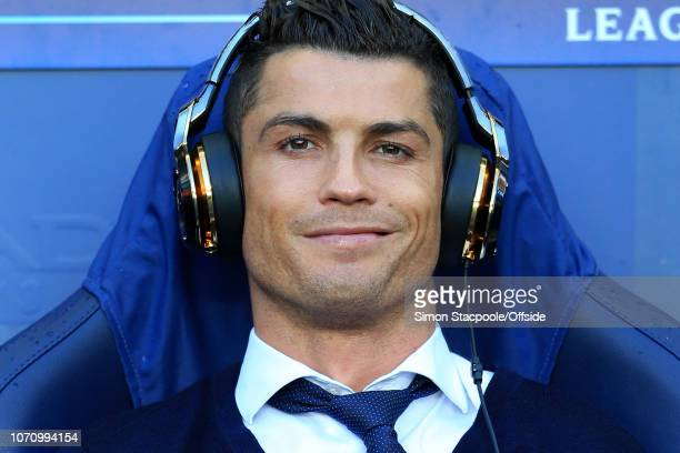 26th April 2016 - UEFA Champions League - Semi-Final - Manchester City v Real Madrid - Cristiano Ronaldo of Real smiles whilst wearing gold...