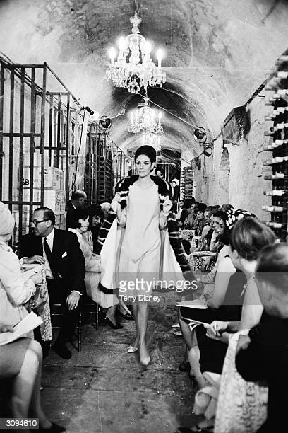 Fashion model on the catwalk in London during a fashion show launching French designer Pierre Balmain's designer collection.