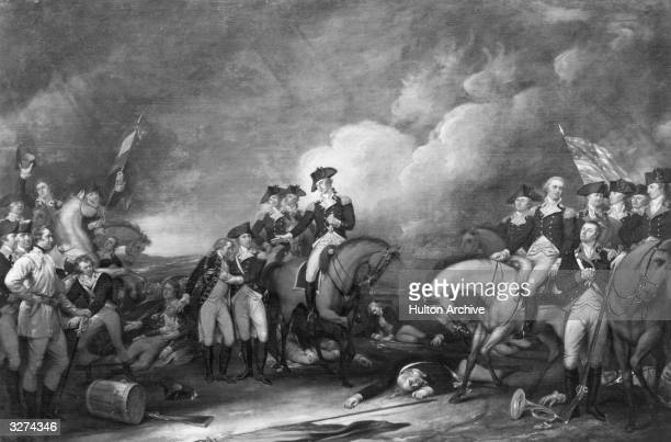 The Battle Of Trenton by John Trumbull in which American troops under cover of darkness crossed the Delaware River to defeat the Hessian mercenaries...