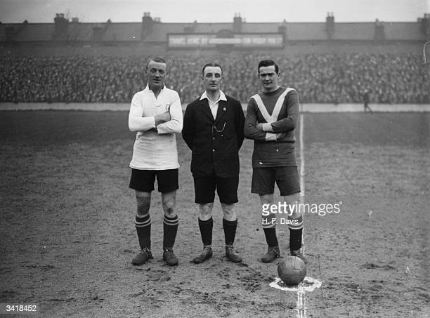 From left to right Bradford of Birmingham City referee Mr Crew and Clay of Tottenham Hotspur before the kick off at White Hart Lane All three had...