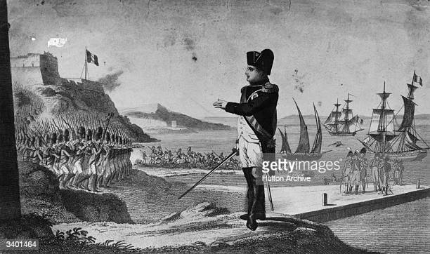 Napoleon I , emperor of the French, with his troops escaping from the island of Elba, off the coast of Italy.
