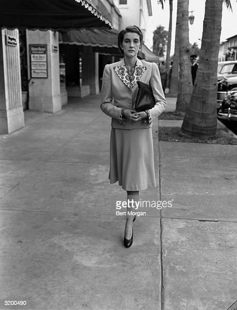 EXCLUSIVE Countess von HaugwitzReventlow walks on Worth Avenue in Palm Beach Florida