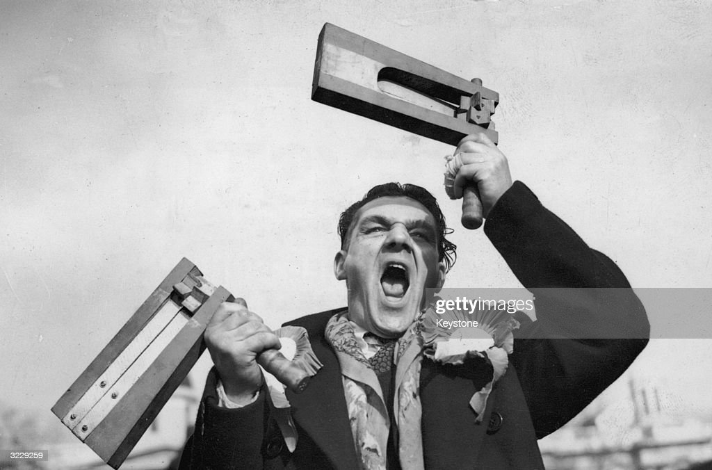Armed with a pair of rattles, Leicester City fan George Hughes arrives in London to watch his team's cup-tie match against Brentford.