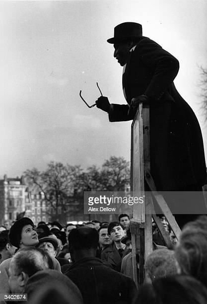 A black man speaking to a predominantly white audience at Speakers Corner Hyde Park London Original Publication Picture Post 7549 Why I Was Ashamed...
