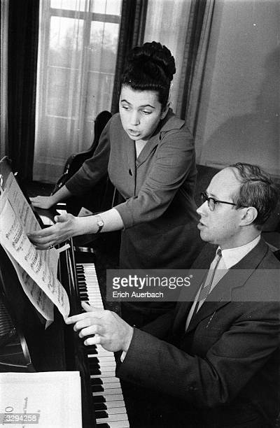 Russian soprano Galina Vishnevskaya with her husband the Russian cellist conductor and composer Mstislav Rostropovich at the piano