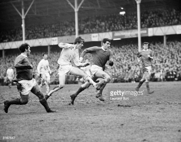 Leeds United forward Alan Clarke shoots for goal during a football match