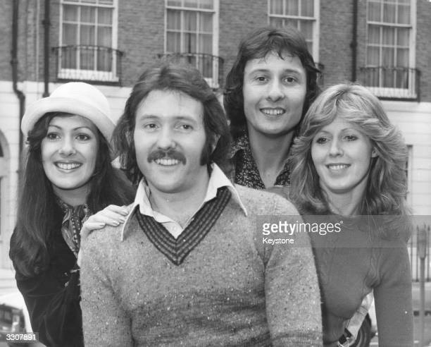 British vocal pop group the Brotherhood Of Man from left to right Nicky Stevens Martin Lee Lee Sheridan and Sandra Stevens who are to represent...