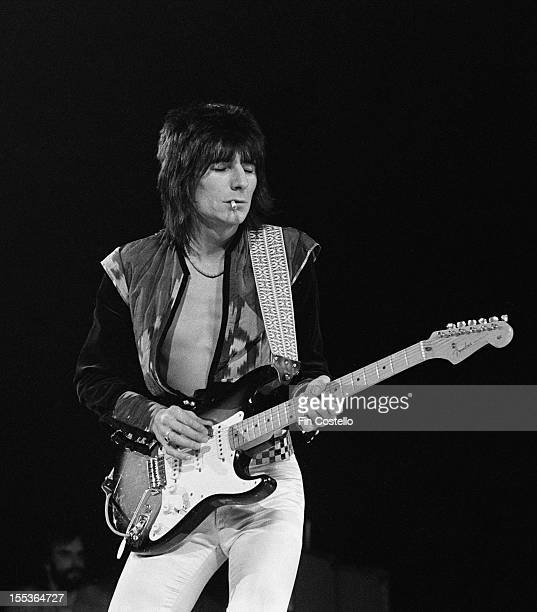 Ronnie Wood guitarist with The Faces performs live on stage at the Arena in New Haven Connecticut on 26th February 1975