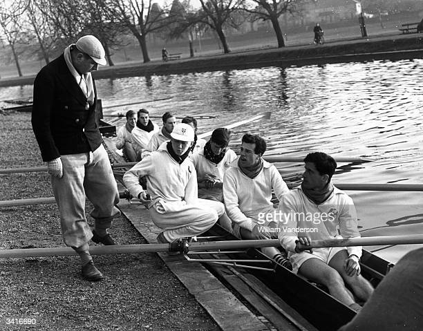 The coach chats with his crew as Cambridge prepare for the forthcoming Oxford and Cambridge boat race