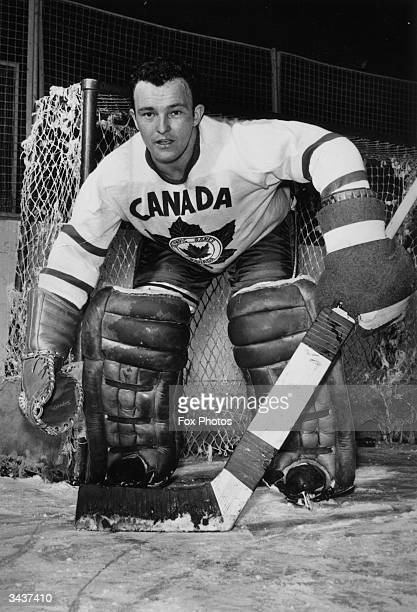 Denis Brodeur the first line goalkeeper of Canada's ice hockey team during a practice match The team are in training to defend their title against...