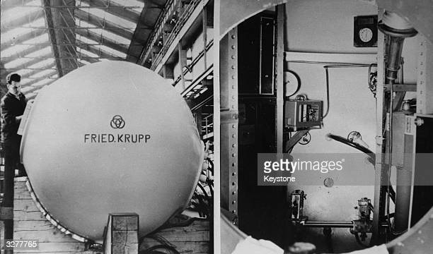 Jacques Piccard's bathyscaphe Trieste at the Krupp factory in Essen Built in 1953 by his father Auguste Piccard Trieste set a world depth record on...