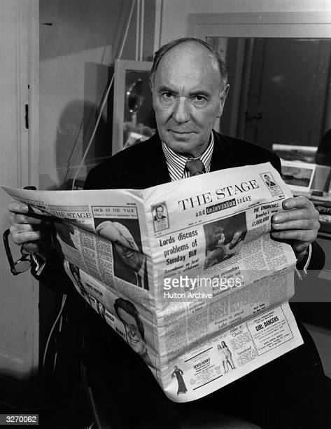 Muchloved English actor Sir Ralph Richardson reading 'The Stage'