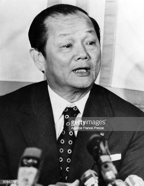 South Vietnamese foreign minister Tran Van Lam at a press conference in Paris before signing the peace agreement which ended the Vietnam War