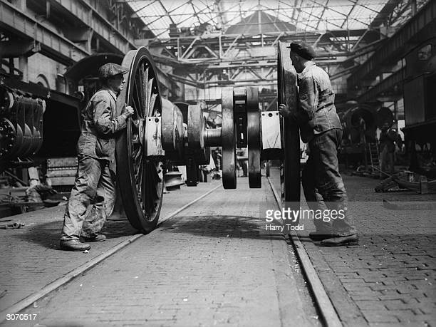 Wheels for the 'Princess Royal' an express locomotive being built at Crewe for the AngloScottish expresses on the LMS railway