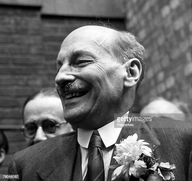 26th July 1945 London England British Labour politician and now Prime Minister Clement Attlee is pictured celebrating after his victory in the...