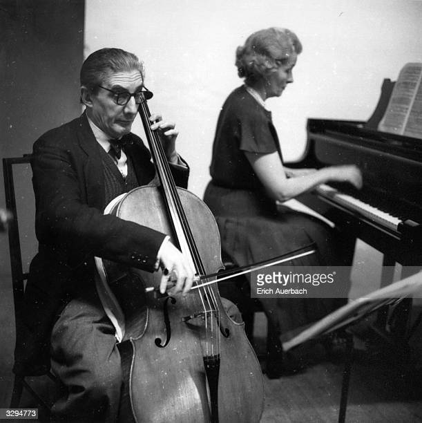 British conductor and cellist Sir John Barbirolli , and Lady Ruth Fermoy at the piano, at King's Lynn.