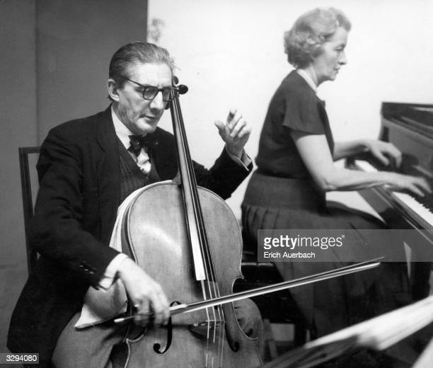 British conductor and cellist Sir John Barbirolli , with Lady Ruth Fermoy at King's Lynn.
