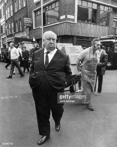 British film director Alfred Hitchcock in Covent Garden London the location for scenes in his film 'Frenzy'