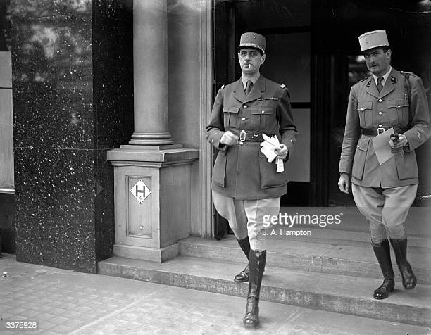 Head of the Free French General Charles De Gaulle with his aidedecamp Geoffroy Chodron de Courcel in London