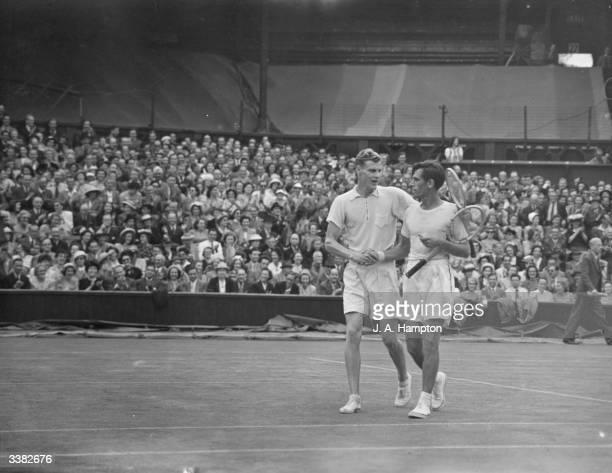 Frank Parker of the USA congratulates Lennart Bergelin of Sweden on winning their match at the Wimbledon Lawn Tennis Championships
