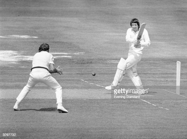 Nottingham's Derek Randall plays cricket